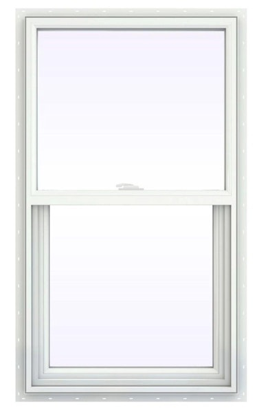 Jeld Wen Premium Vinyl Double Hung window in white with no grille and style cam lock.