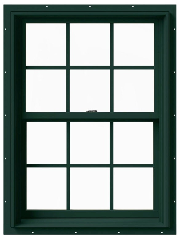Jeld Wen Premium Vinyl Double Hung in Hartford Green with colonial grille.