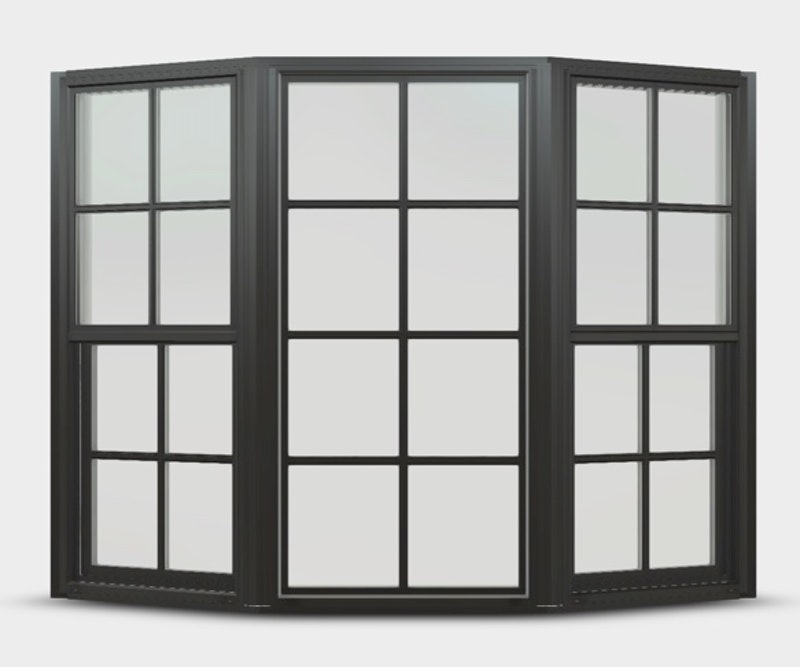 Black bay windows with double hung flankers and colonial grilles.