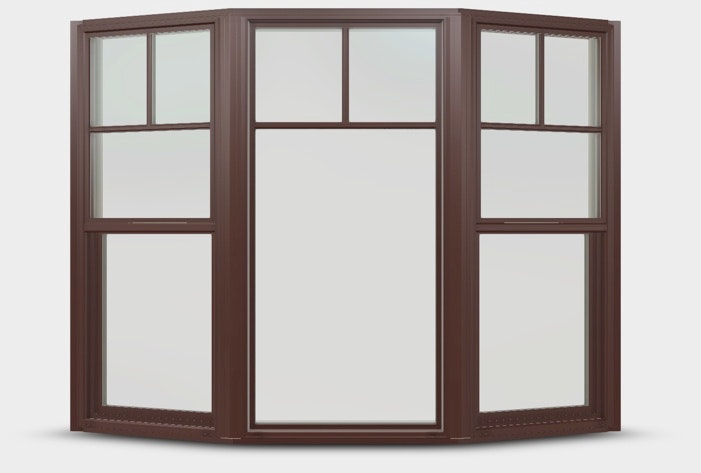 Bay windows in Mesa Red with double hung flankers and top down grilles.