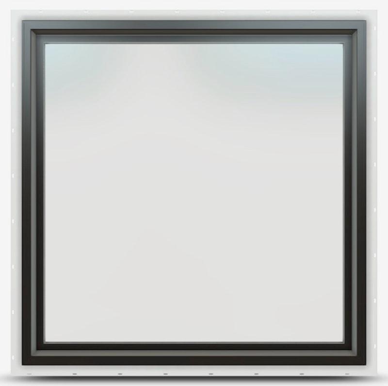 Jeld-Wen Premium Vinyl Picture window in Black and no grille.