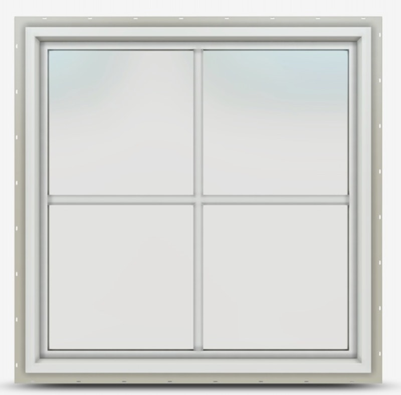 Jeld-Wen Premium Vinyl Picture window in White and Colonial Grille.