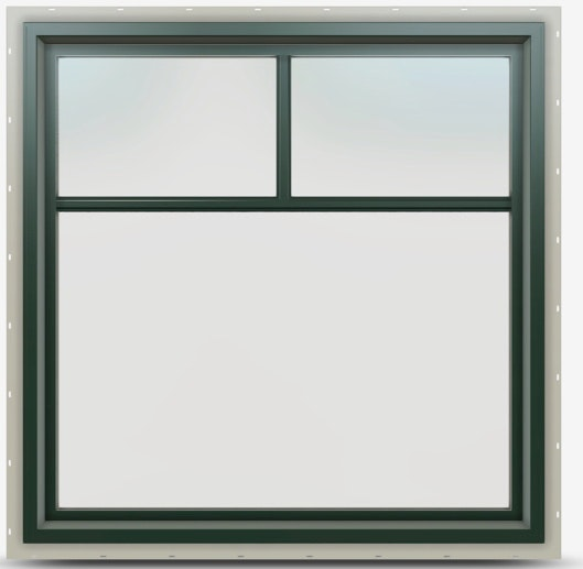 Jeld-Wen Premium Vinyl Picture window in Hartford Green and Top Down Grille.