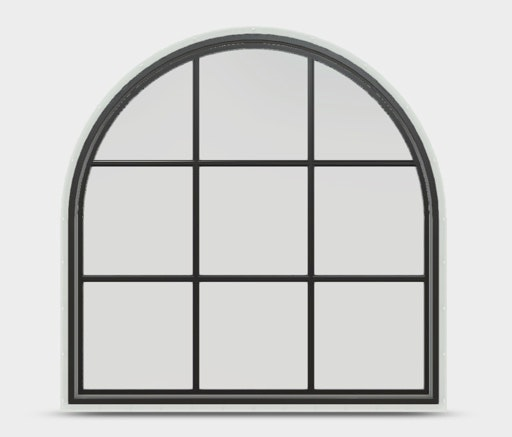 Jeld-Wen Premium Vinyl Half Round window in Black with colonial grille.