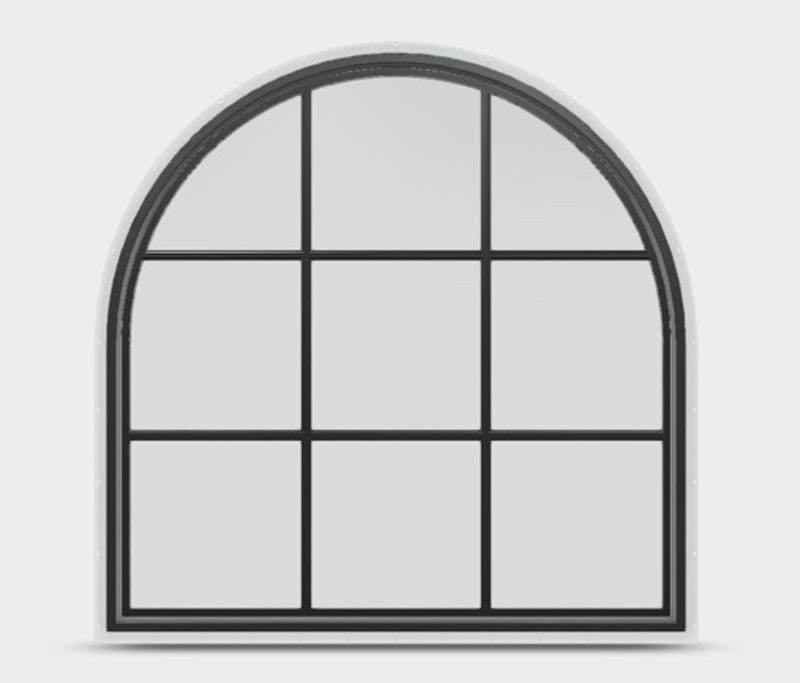 Jeld-Wen Premium Vinyl Half Round window in Black with colonial grille.