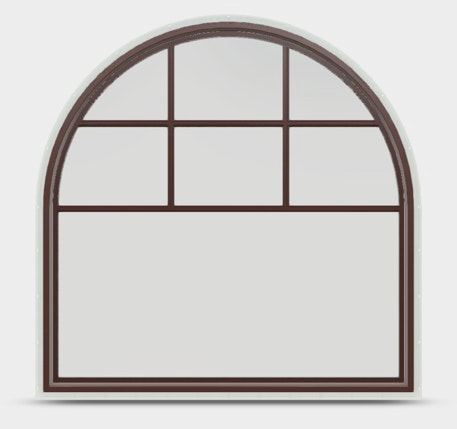 Jeld-Wen Premium Vinyl Half Round window in Mesa Red with top down grille.