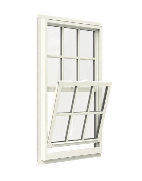 Interior Jeld Wen Premium Vinyl Single Hung Window in white with open bottom tilt sash and colonial grille.