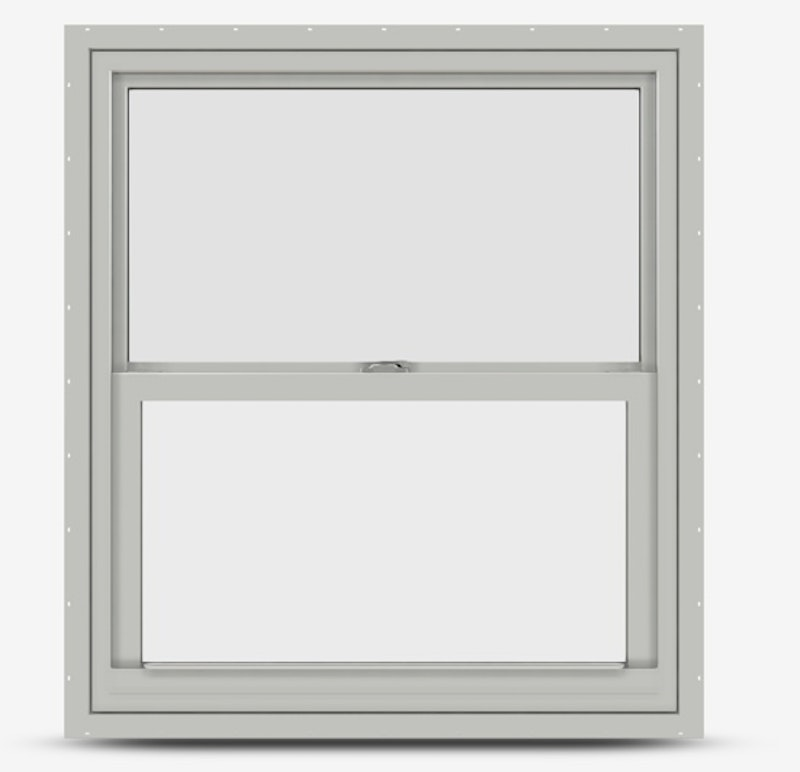 Interior of single hung Jeld Wen Premium Vinyl Window in white frame with visible style cam lock and no grille.