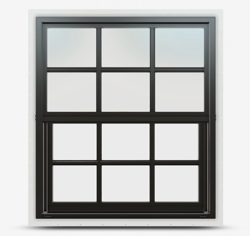 Single hung Jeld Wen Premium Vinyl Window in Black frame with colonial grille.