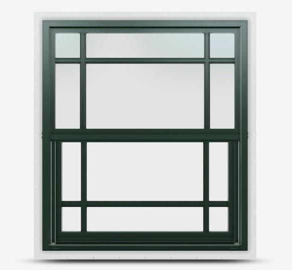 Single hung Jeld Wen Premium Vinyl Window in Hartford Green frame with prairie grille.