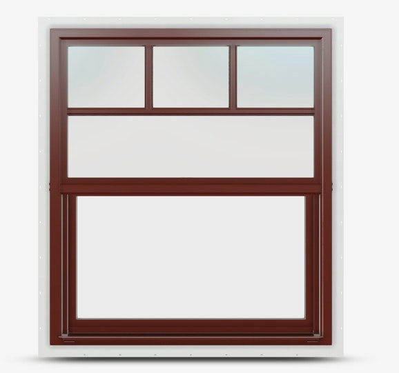 Single hung Jeld Wen Premium Vinyl Window in Mesa Red frame with a top down grille.