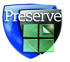 Black, blue, and green logo for Preserve glass with white text.
