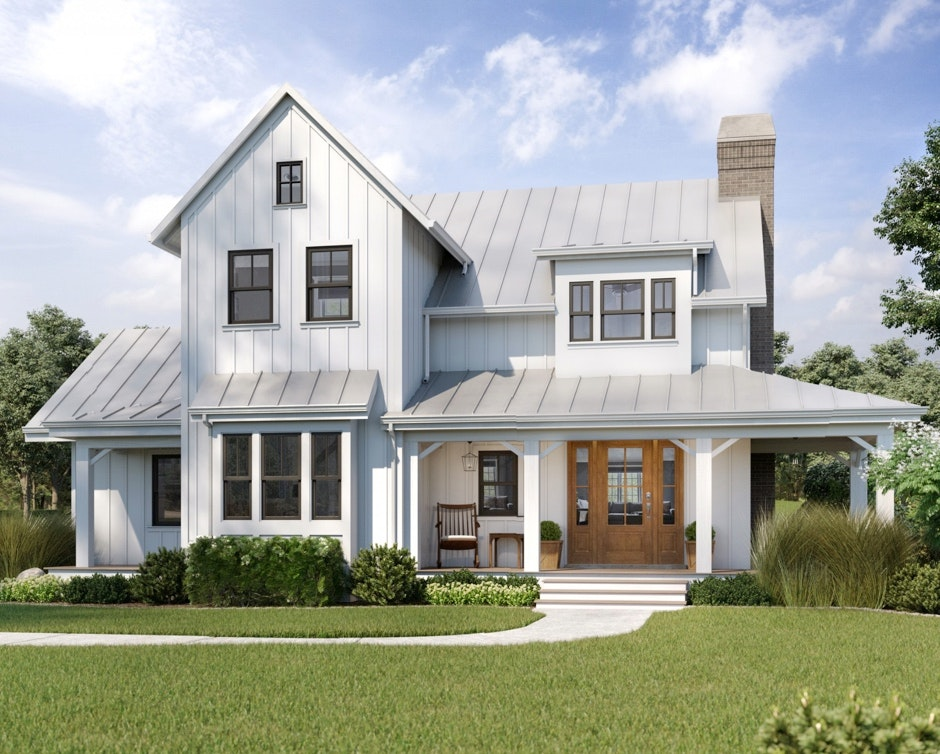 Large white farmhouse with natural stained door and several deeply stained double-hung windows.