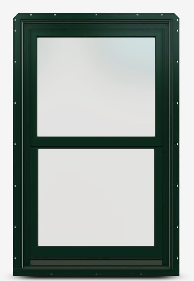 Hunter green double-hung window without grilles.