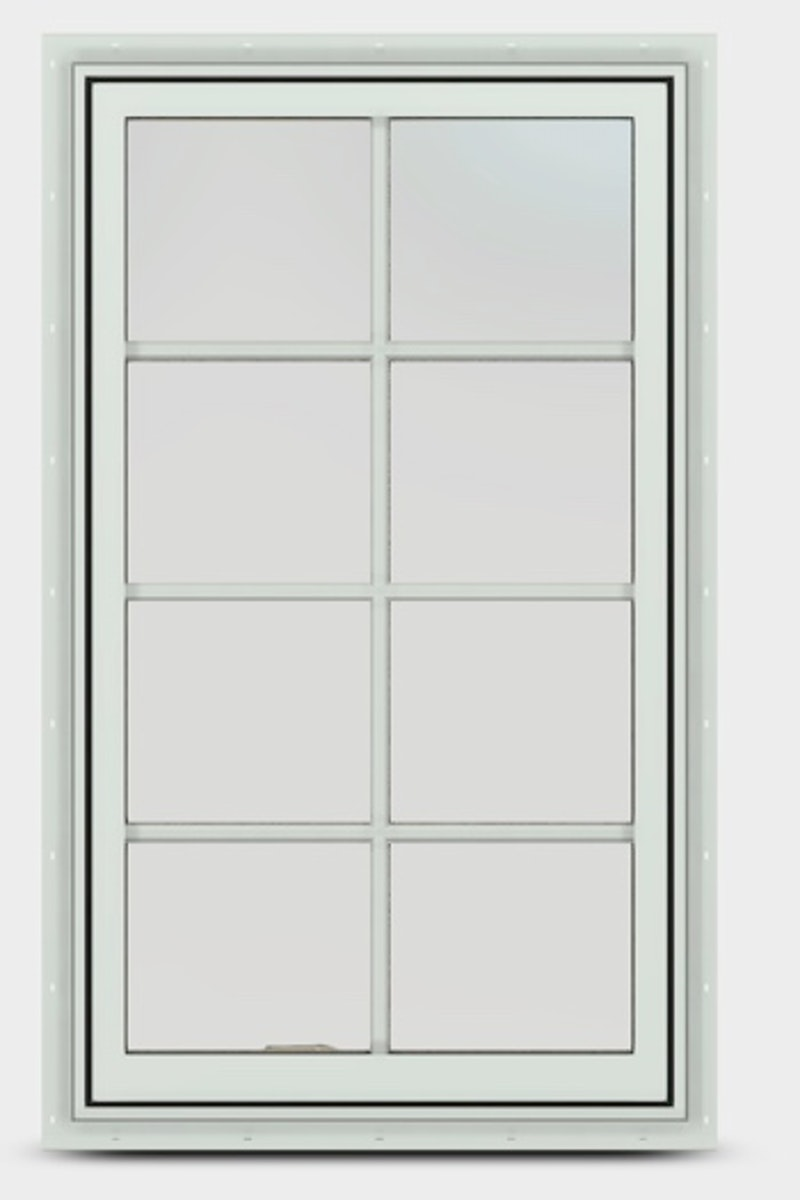 Exterior view of a Jeld-Wen EpicVue wood casement window with colonial grilles.