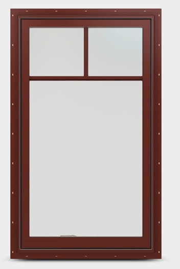 Exterior view of an EpicVue wood casement window featuring a top down grille in mesa red.