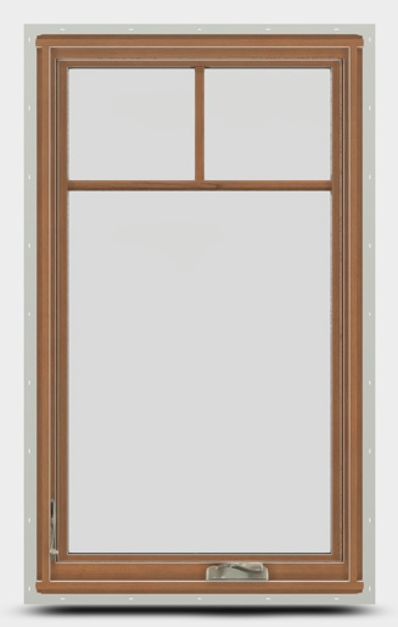 Interior view of a wood casement window with nesting handle.