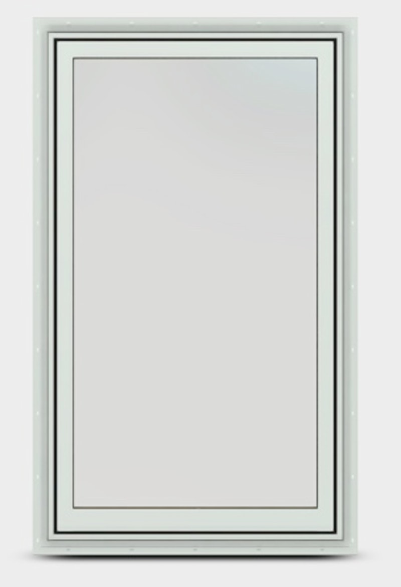 Exterior of fixed sash window with no grille in white.