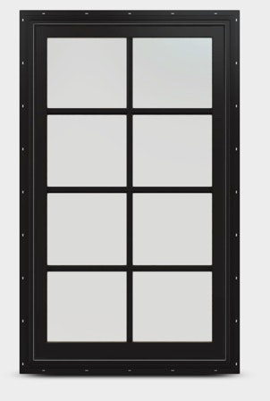 Black fixed sash with colonial grille.