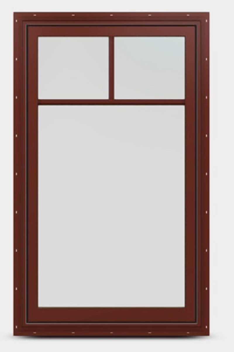 Exterior view of a Mesa Red fixed sash window with top down grille.