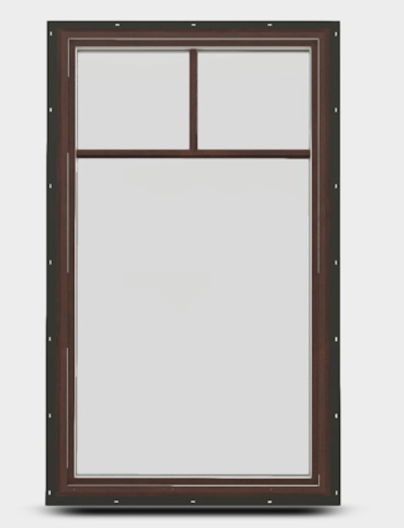 Interior view of a fixed direct set Jeld-Wen EpicVue window with top down grille.