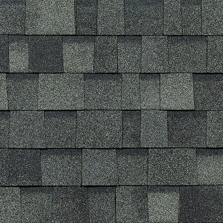 Sample of Oakridge shingles in estate gray.