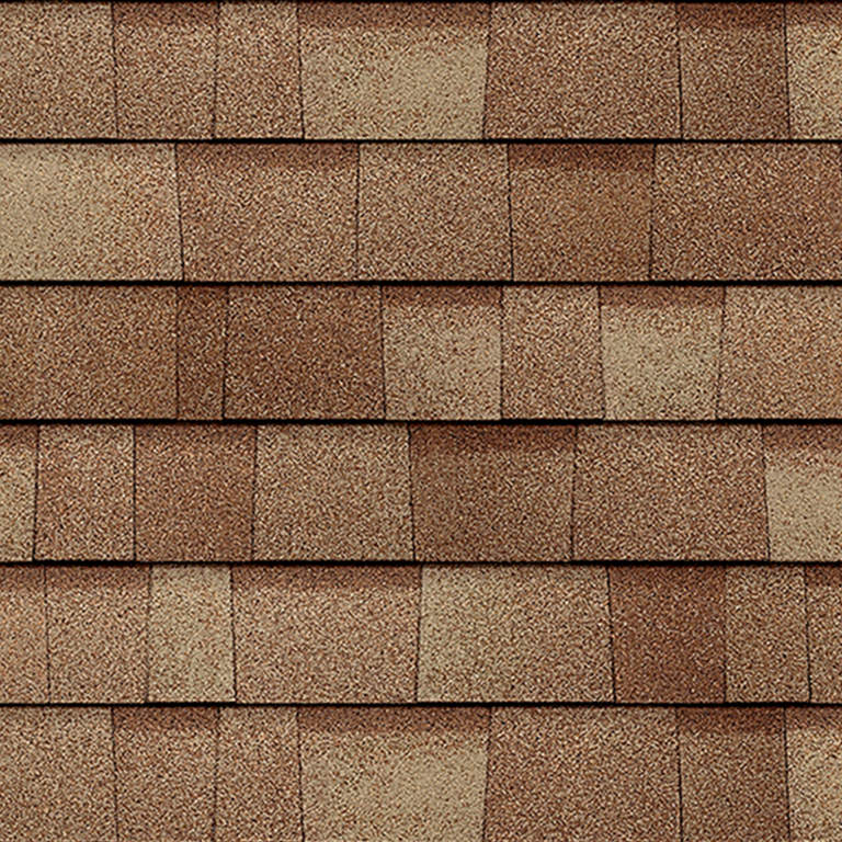 Sample of Duration Premium shingles in frosted oak.