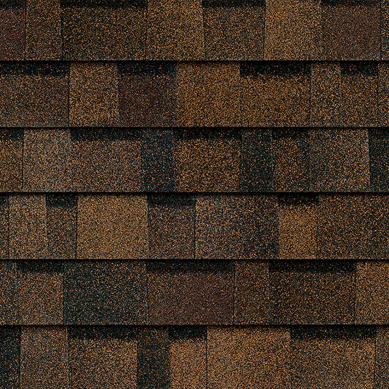 Sample of Brownwood Owens Corning shingles.