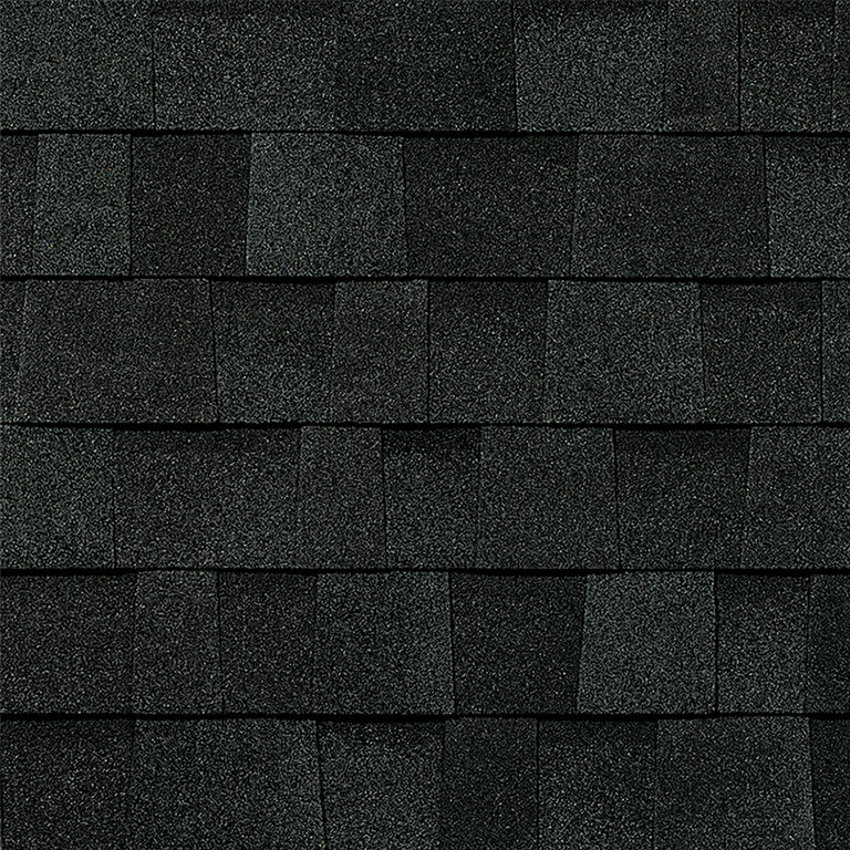 Sample of onyx black Owens Corning shingles.