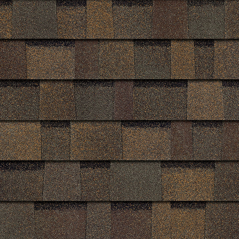 Sample of teak Owens Corning shingles.