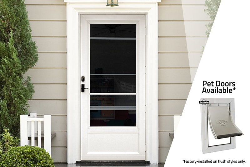 """Photo of white storm door and pet door to the right side on white overlay, the text above reads, """"Pet Doors Available Factory-installed on flush styles only."""""""