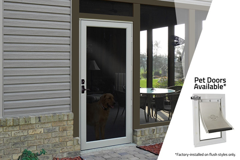 "Photo of back patio with white storm door and pet door to the right side on white overlay, the text above reads, ""Pet Doors Available Factory-installed on flush styles only."""